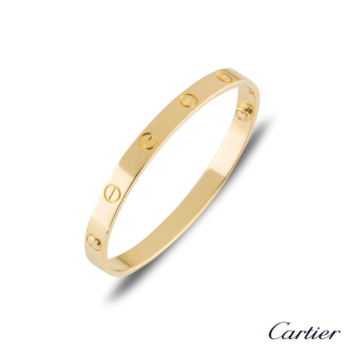 Cartier Yellow Gold Plain Love Bracelet Size 17 B6035517